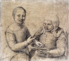 Sofonisba Angisola. Grammar lesson. Portrait of an old woman and a laughing girl
