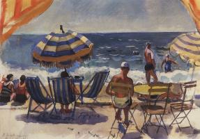 Menton. Beach with umbrellas