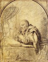 Франц ван Мирис Старший. Пожилой мужчина заостряет перо