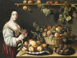Луиза Муайон. Натюрморт с фруктами и молодой служанкой.