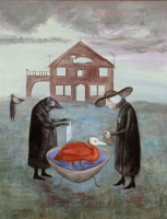 Leonora Carrington. Bird baths (canvas)