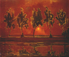 Piet Mondrian. Trees by the Gein at Moonrise