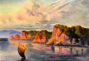 """Эрнст Генрих Геккель. """"Красные светильники"""", свет закатного солнца на скалах, Цейлон. """"Чудеса тропического мира"""""""