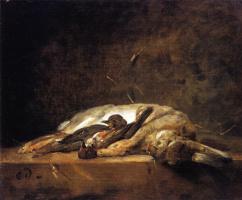 Жан Батист Симеон Шарден. Натюрморт с кроликом и двумя дроздами
