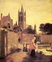 Питер де Хох. Женщина и ребенок на лужайке для отбеливания белья