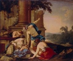Лоран де Ла Хайр. Меркурий отдает Вакха на воспитание нимфам