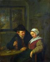 Адриан ван Остаде. Крестьянин ухаживает за пожилой женщиной