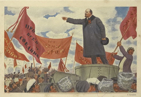 Boris Mikhailovich Kustodiev. The eve of October (speech VI Lenin at the Finland station)