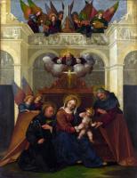 Лодовико Маззолино. Святое семейство со Святым Николаем Толентинским