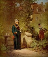 Karl Spitzweg. Reading the newspaper in the garden