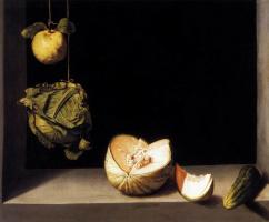 Juan Sanchez Kotan. Still life with quince, melon, cabbage and cucumber