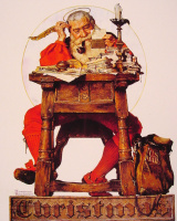 Norman Rockwell. Santa reads Christmas letters