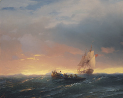 Ivan Aivazovsky. Ships on the waves at sunset