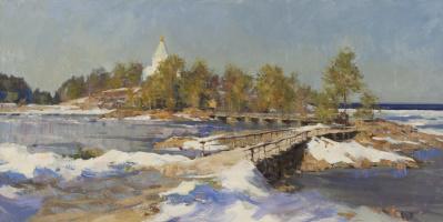 Alexander Evgenievich Kosnichev. The road to St. Nicholas monastery. The snow melts