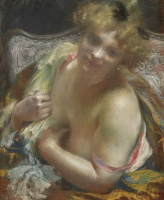 Paul Albert Benar. A woman with bare Breasts.