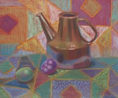 Still life with brown tea kettle