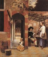 Питер де Хох. Пьющие в беседке