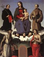 Пьетро Перуджино. Мадонна с младенцем и четырьмя святыми