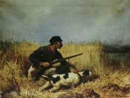 "Petr Petrovich Sokolov. ""Russian hunter-fishers. In the swamp"""