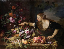 Abraham Brueghel. Woman Grasping Fruits