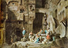Карл Шпицвег. Прачки у фонтана
