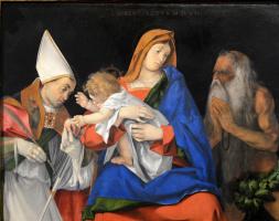 Лоренцо Лотто. Мадонна с младенцем между святыми Игнатием Антиохским и Онуфрием