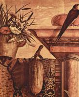 Карло Кривелли. Алтарь семьи Одони, центральное изображение: Мария на троне, святой Иероним и святой Себастьян. Фрагмент