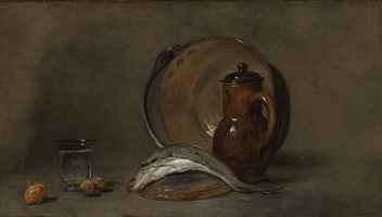 Жан Батист Симеон Шарден. Натюрморт с медным горшком, кувшином, рыбой и стаканом
