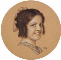 Franz von Pieces. Portrait of the artist's daughter Marie von Grand. Chalk 1906