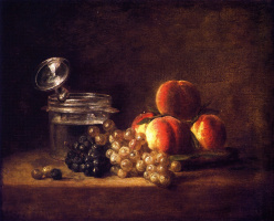 Still life with wine glass, peaches, red and white grapes
