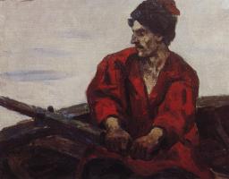 Василий Иванович Суриков. Гребец в лодке. Этюд