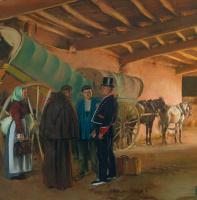Рамон Касас Карбо. Spanish garage. Fragment. Horse cart