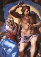 Микеланджело Буонарроти. Страшный суд. Христос и Мария.