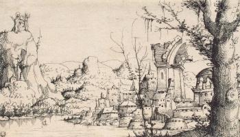 Августин Хиршфогель. Пейзаж с искушением Христа