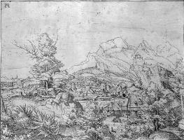 Альбрехт Альтдорфер. Горный пейзаж с водяной мельницей