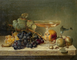 Still life with fruit, nuts and a glass on a marble ledge. 1858