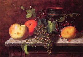 William Michael Harnett. Still life with fruit and vase