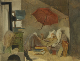 Karl Spitzweg. The poor poet. Sketch
