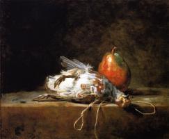 Жан Батист Симеон Шарден. Натюрморт с грушей и серой куропаткой