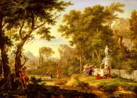 Ян ван Хейсум. Классический пейзаж с поклонением Вакха