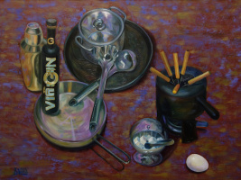 Still life with metallic dishes