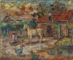 Давид Давидович Бурлюк. Крестьянин и лошадь на скотном дворе