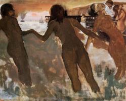 Эдгар Дега. Девочки-крестьянки, купающиеся в море в сумраке