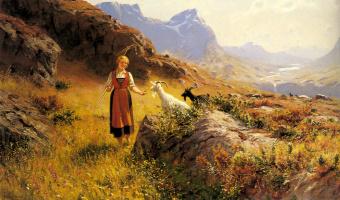 Ханс Даль. Альпийский пейзаж с пастушкой и козами