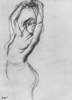 Edgar Degas. Naked to the waist dancer with raised arms