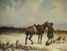 "Petr Petrovich Sokolov. ""Hunting scene"" 1869"