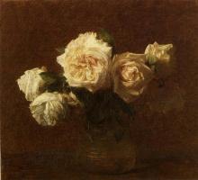 Анри Фантен-Латур. Желтые розы в стеклянной вазе