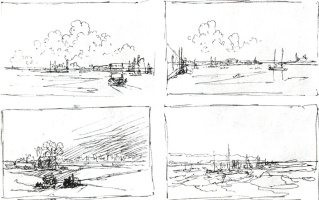 Ivan Aivazovsky. Four composite sketch of the coastal area