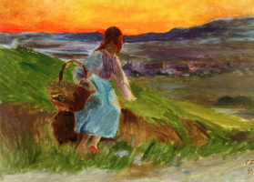 Cuno Amiè. Girl with a basket on the background of evening landscape