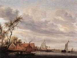 Саломон Якобс ван Рейсдал. Речная сцена с фермой